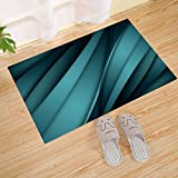 JANNINSE Striped Square Design Small Door Mat, Gradient Green Background Metal Technology Colorful Feeling, Green Black, Patio Carpet Dirt Waste Mud Exit Pad Low Wash Carpet