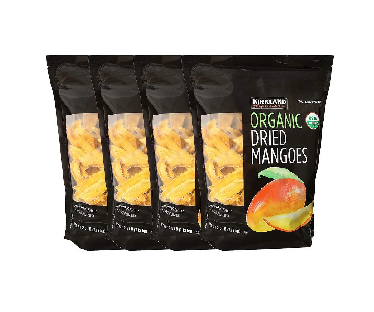 Kirkland Signature Organic Dried Mangoes, 2.5 lbs (Pack of 4)