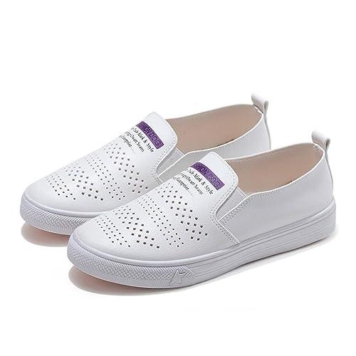 ZODOF Zapatos de Mujer Casual Deportes Estudiante Zapatos Blancos Planos Zapatos Respirables Zapatos Perezosos: Amazon.es: Zapatos y complementos
