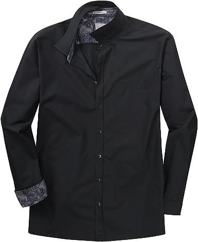 Signum XXL Camisa Negra Manga Larga estructurada, 2xl-8xl:2XL ...