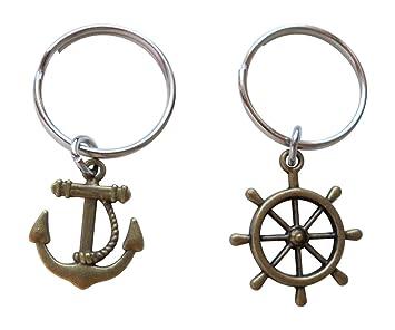 Amazon.com: Los buques timón y ancla de bronce llavero Set ...
