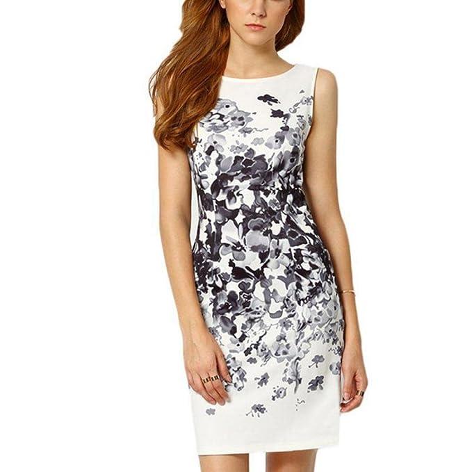 Culater® Mujer Vestidos Casual Patrón Floral sin Mangas de Cuello Redondo Corto (34,