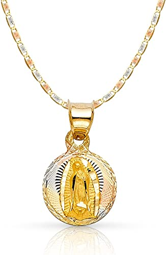 14K Tri Color Gold Diamond Cut Baptism Stamp Charm Pendant with 1.1mm Wheat Chain Necklace