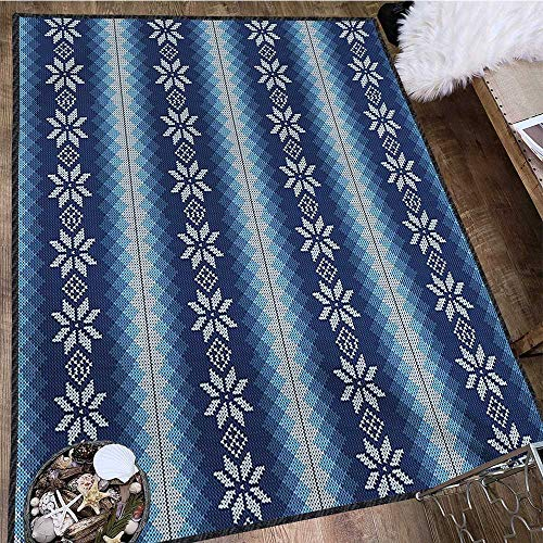 Winter, Area Rug Boys Room, Traditional Scandinavian Needlework Inspired Pattern Jacquard Flakes Knitting Theme, Door Mats for Inside Non Slip Backing 5x8 Ft Blue White by lacencn (Image #2)