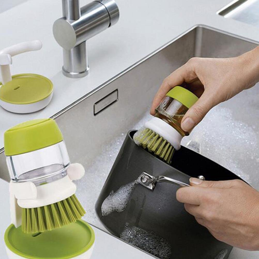 Automatic Soap Dispensing Detergent Scrubber Dish Wash Palm Handle Brush Cleaner Tank Washing Pot Brush Cutlery Brush Dispensing Palm Liquid Cleaning Brush And Pan Dish Bowl Sink Cleaner , Green , A Tyj-Kitchen