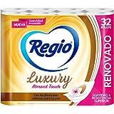 Regio Papel Higiénico Luxury Almond Touch; Ligero Aroma A Almendras Y Hojas Dobles; Marca Regio 32 Rollos, color, 32 count, p