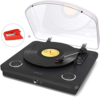Vinyl Record Player, dodocool 3 Speed Turntable Blue Tooth Record Player with 2 Built in Stereo Speakers, Replacement Needle, Supports RCA Line Out, ...