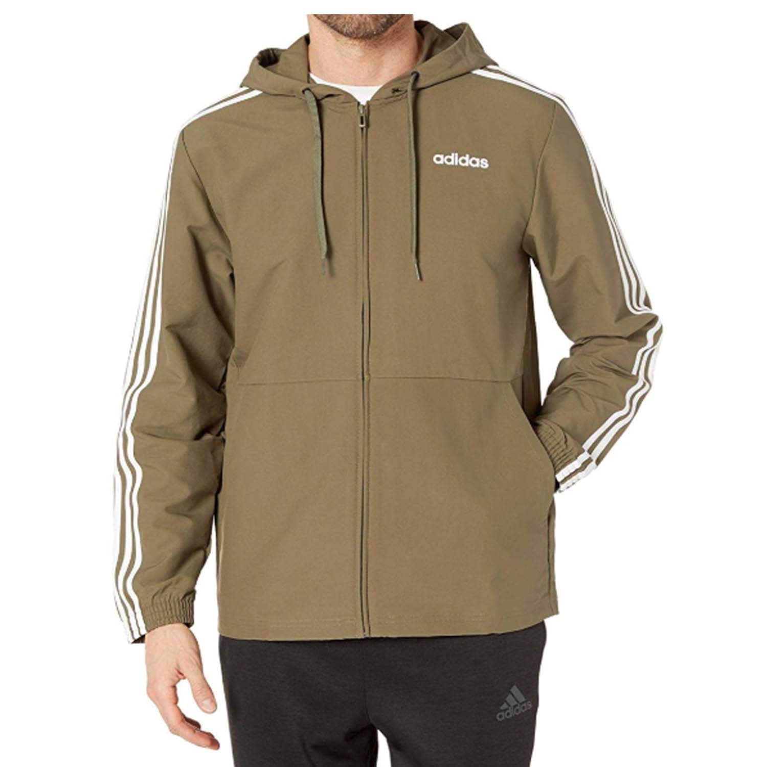 adidas Men's Essentials 3-Stripes Woven Windbreaker, Raw Khaki/White, XX-Large by adidas
