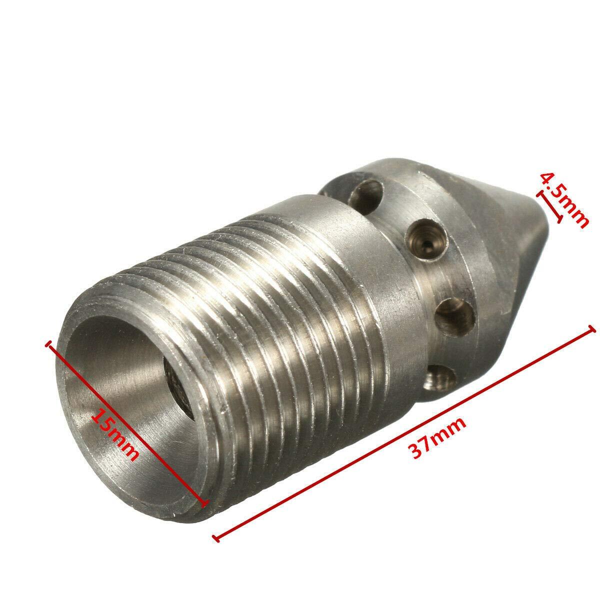 SS304 boquilla de limpieza de tuber/ía de alcantarillado de presi/ón boquilla de desag/üe para lavadora a presi/ón plateado TOOLSTAR Boquilla de limpieza