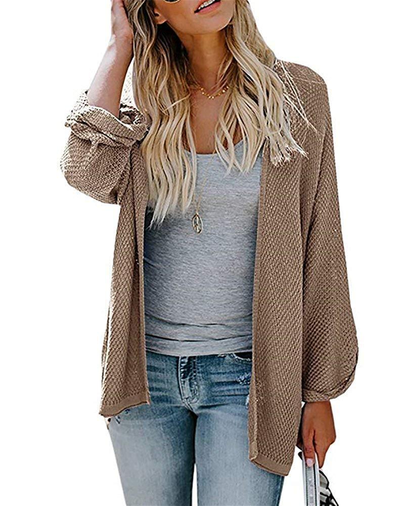 PARIS HILL Womens Long Sleeve Cardigans Oversized Open Front Basic Casual Knit Sweaters Coat Khaki Medium