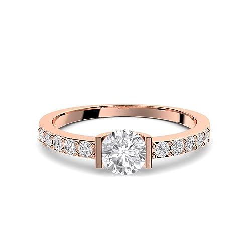 Oro rosa anillo compromiso anillos Rose oro piedra zirconia ...