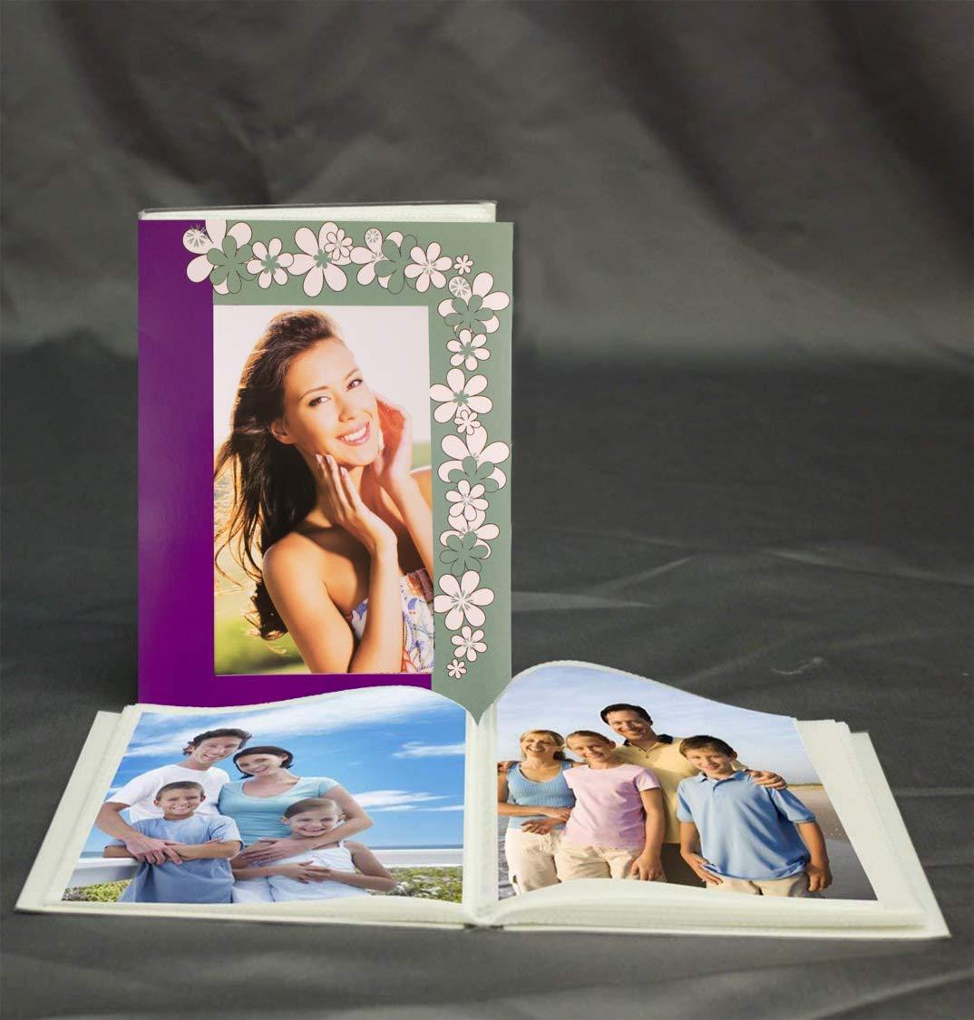 KVD Albums Mini 4x6 Photo Album Brag Book, Various Exquisite Colors and Themes, Durable, Flexible, Holds 36 4 x 6 Photos. Purple/Green Floral