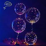Palloncini con Stringa LED Multicolore, LEEHUR Palloncini in Lattice Decorazione per Feste, Compleanni, Matrimoni, Natalizi - 4 Pezzi