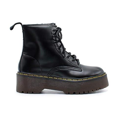 8728f3341 Zapshop C8655 Bota Militar con Cordones de Plataforma de Color Negro para  Mujer Talla  41  Amazon.es  Zapatos y complementos