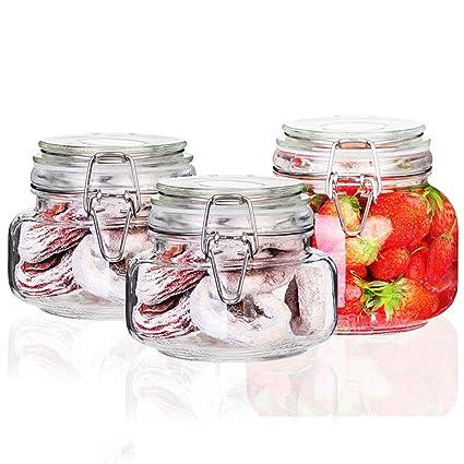 Tarro Almacenamiento 3 unids Sellado Alimentos atasco Botellas de Vidrio con Hebilla té Transparente Granos de
