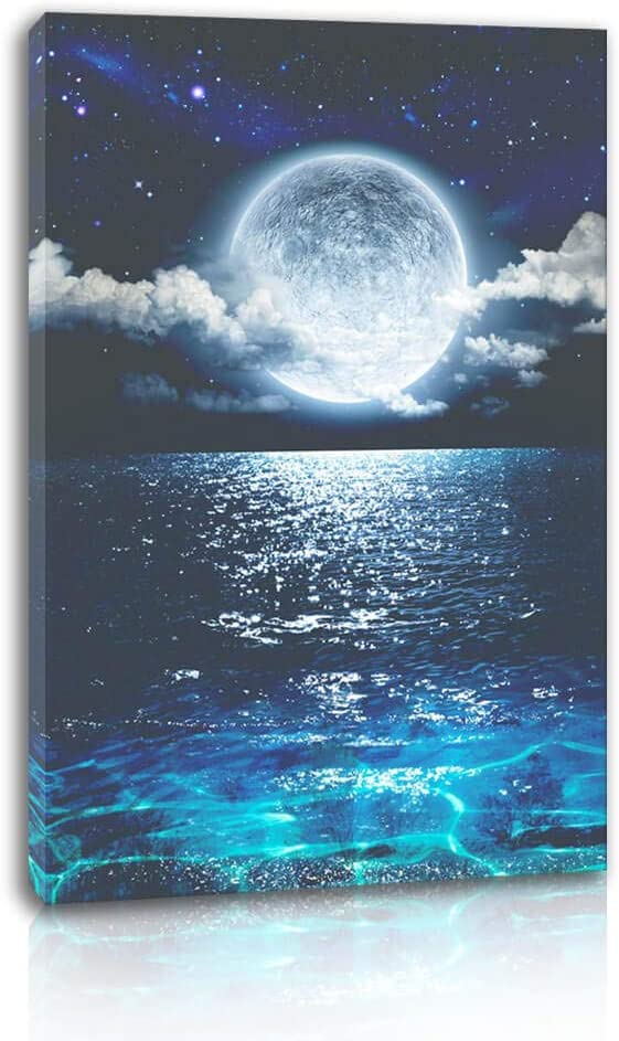 """Canvas Wall Art for Bedroom Seascape with Moon Picture for Living Room Home Decor Ocean Landscape Print on Canvas Blue Sea Stretched Artwork for Bathroom Decor 1Pcs (12x16"""", Blue)"""