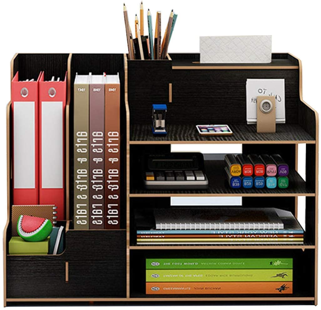 Catekro Office Desktop Storage Box Dormitory Desktop Office Supplies Folder Information Bookshelf Paper Storage Box Large Capacity Black 15.5 x 11.4 x 11 inches (with Gift Wrapping Paper)