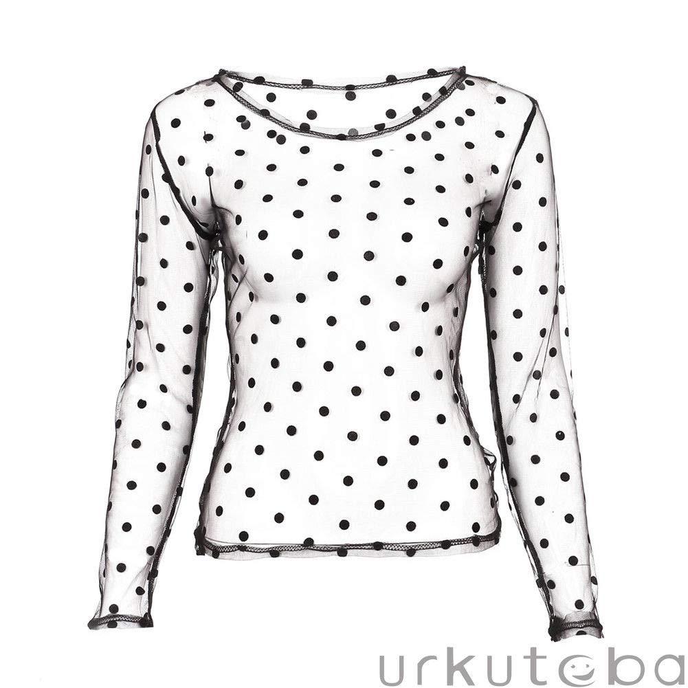 e9bb6aa3 Women Sexy Long Sleeve See Through Mesh Tops Blouse Polka Dot Slim Shirt  Clubwear at Amazon Women's Clothing store: