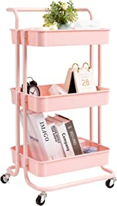 danpinera 3 Tier Rolling Utility Cart with Wheels and Handle Storage Organization Shelves for Kitchen, Bathroom, Office, Library, Coffee Bar Trolley Service Cart, Pink