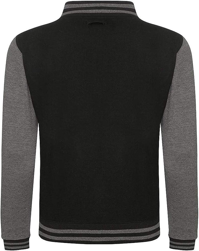 Jet Black//Hot Pink L Awdis Unisex Varsity Jacket