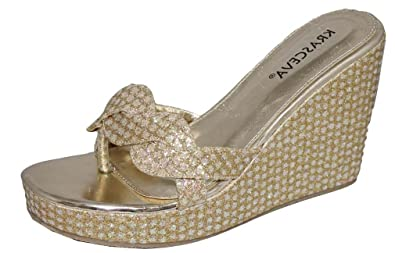 42b91ae101d Ladies Womens Silver Gold Shimmer Diamante Sparkle Wedge Medium Heel Toe  Post Evening Sandals (8