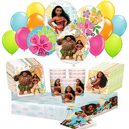 Disney Moana Party Supplies Pack Including Plates, Cups, Tablecover,Napkins and balloons 46pc