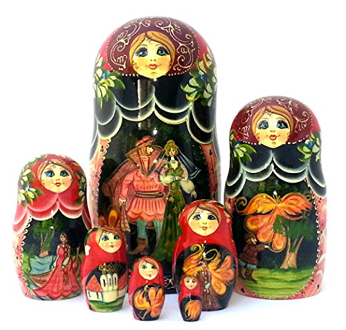 BuyRussianGifts The Fire-Bird Russian Nesting Fairy Tale Doll Hand Carved Hand Painted 7 Piece Set