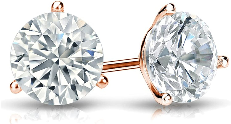 14k Gold Round Lab Grown Diamond Stud Earrings (1/4cttw, G-H, SI1-SI2) 3-Prong Martini, Screw-backs by Diamond Wish