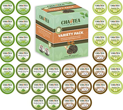 Cha4TEA 36-Count K Cups Assorted Green Tea for Keurig K-Cup Brewers (Matcha Green Tea, Green Tea, Jasmine Green Tea, Oolong Green Tea)