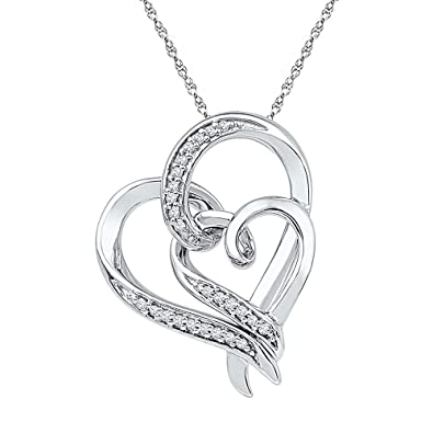 2bc037ea14647f Amazon.com: Sterling Silver Womens Round Diamond Double Heart Pendant 1/10  Cttw: Jewelry