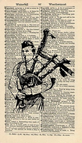 SOTTISH PIPER ART PRINT - SCOTTISH ARTWORK - BAGPIPES ART PRINT - SCOTLAND ART PRINT - BLACK & WHITE - VINTAGE Art - Illustration - GIFT - Vintage Dictionary Art Print - Wall Art - Book Print 216B