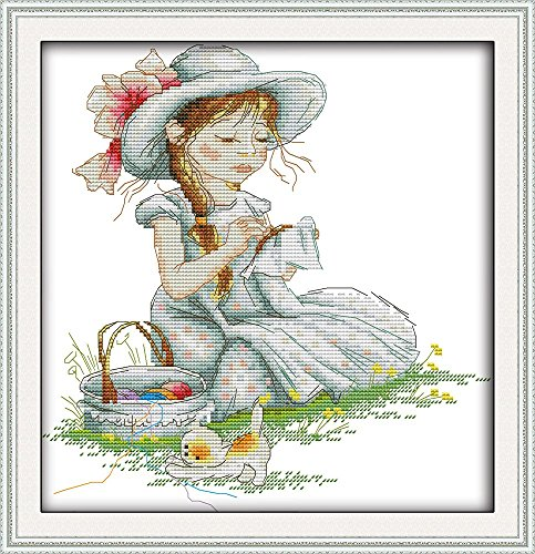 YEESAM ART New Cross Stitch Kits Advanced Patterns for Beginners Kids Adults - Embroidery Girl 11 CT Stamped 37x39 cm - DIY Needlework Wedding Christmas Gifts