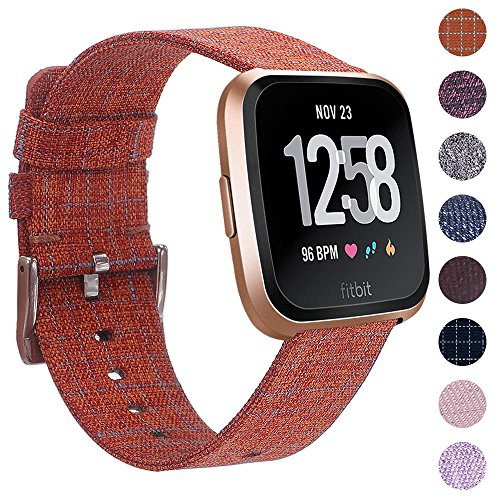 EZCO Compatible Fitbit Versa Bands, Woven Fabric Breathable Watch Strap Quick Release Replacement Wristband Accessories Compatible Fitbit Versa Smart Watch Women Man, Orange Plaid -