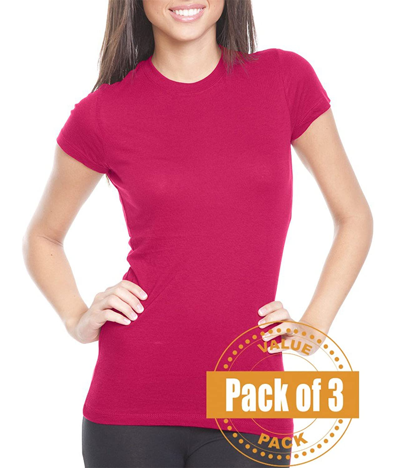 Next Level Womens The Perfect Tee 3300L-Raspberry (3 Pack)