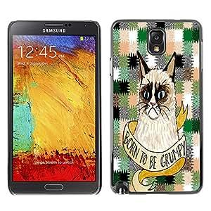 - Chevron Grumpy Cat - - Monedero pared Design Premium cuero del tirš®n magnšŠtico delgado del caso de la cubierta pata de ca FOR Samsung Galaxy Note 3 N9000 N9008V N9009 Funny House
