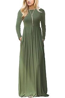 Oliviavan Womens Plaid Long Sleeve Dress Ladies Empire Waist Full Length Maxi Dress with Pockets