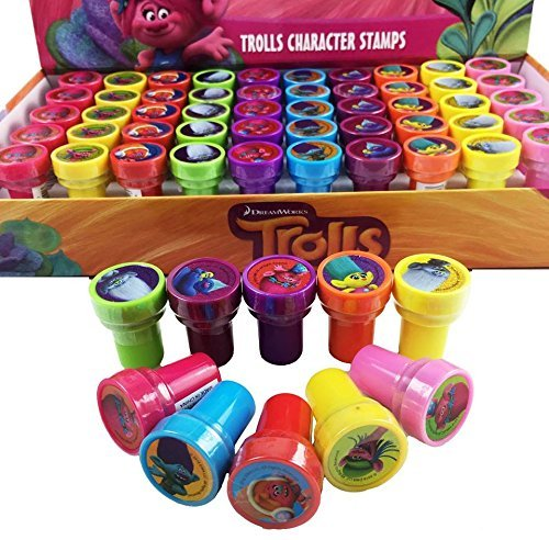 20 pcs Dreamworks Trolls Self-inking Stamps Stampers Pencil