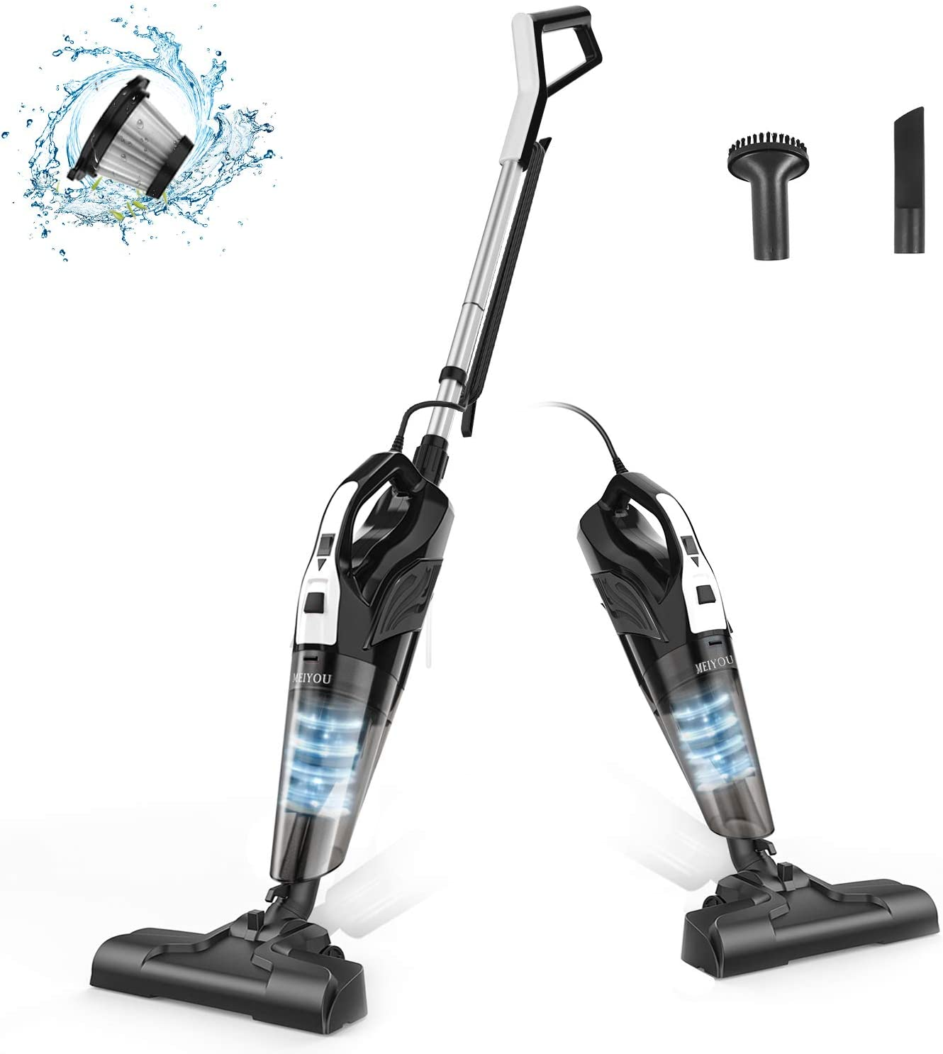 Stick Vacuum Cleaner Corded, Meiyou Stand Lightweight 18000Pa Powerful Suction 2-in-1 Stick Handheld Vacuum Cleaner Dry/Wet Household for Hard Floor and Carpet Cleanig, Black&White