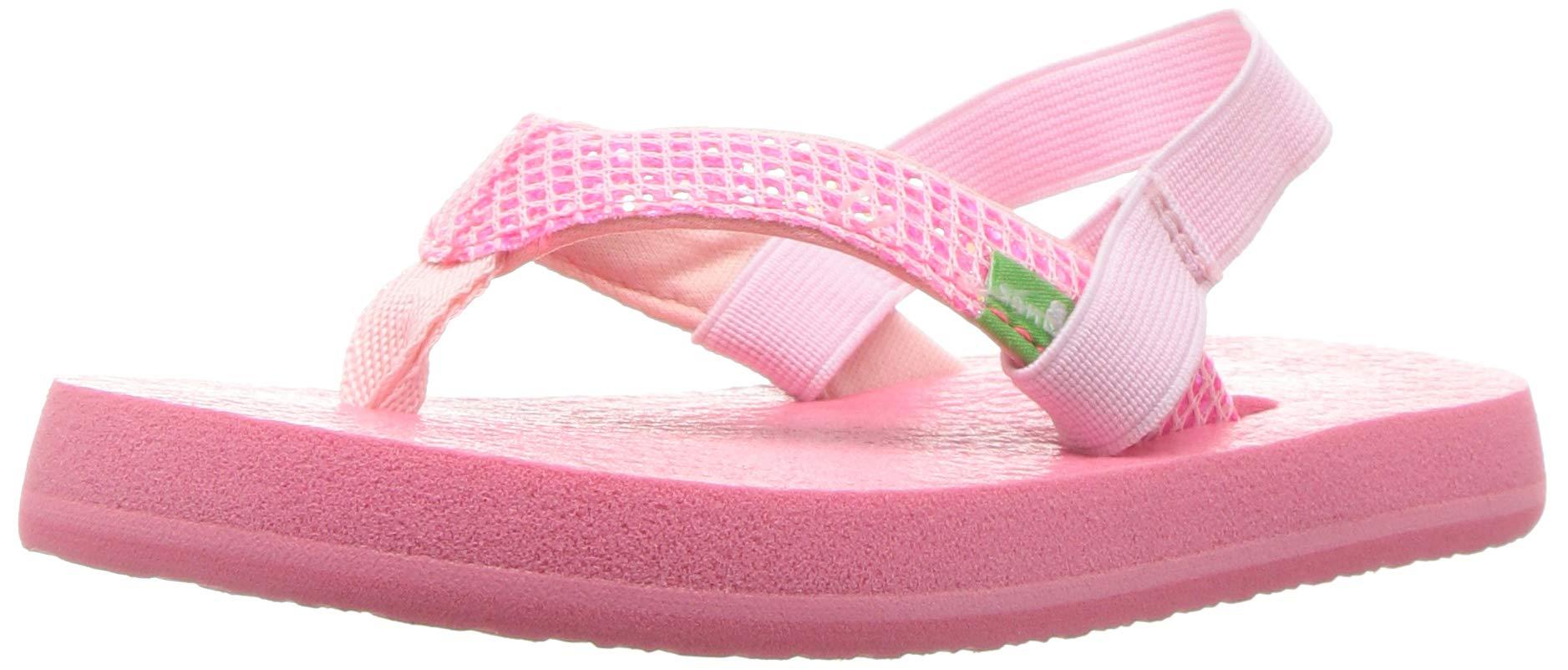 Sanuk Kids Girls' Yoga Glitter Flip-Flop Paradise Pink - with Strap 9/10 M US Toddler