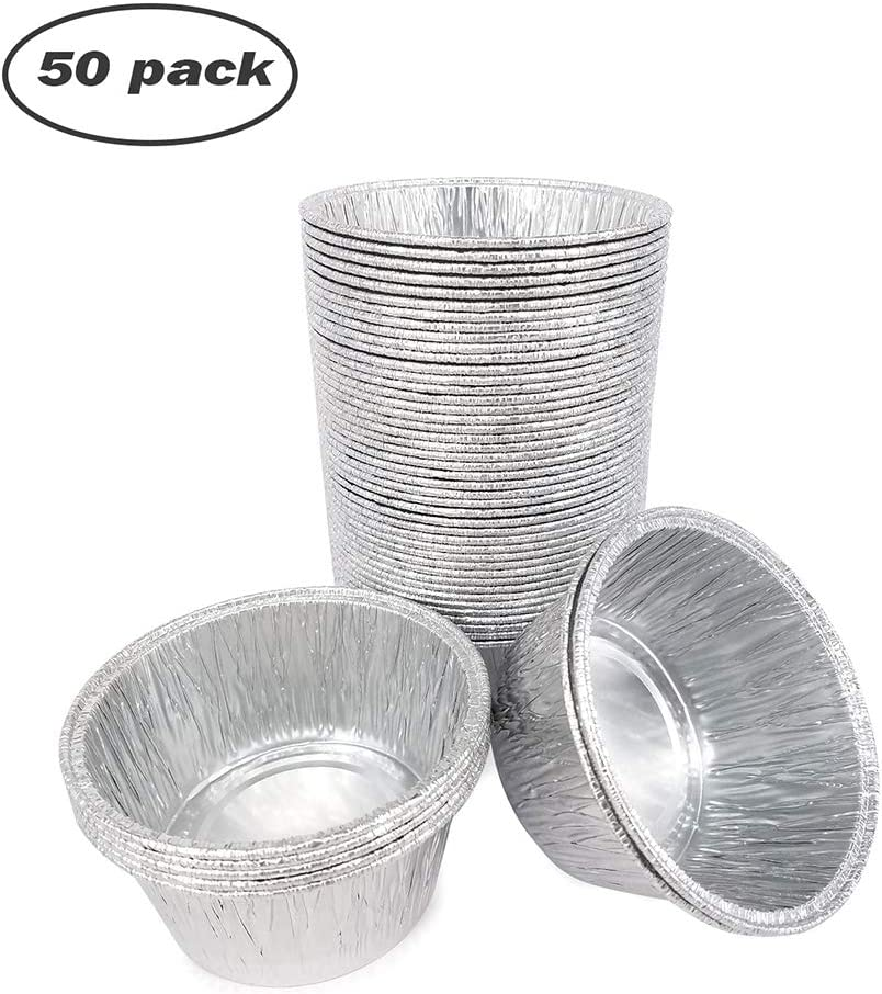 """Disposable Round Aluminum Foil Trays Containers Cake Cup Mini Tart Pans 3.2""""x3.2""""x1.4"""" Kitchen Baking BBQ(Barbecues) Desserts Make Food For Kids Heat Food At Family Dinner Friends Dinner Party Wedding"""