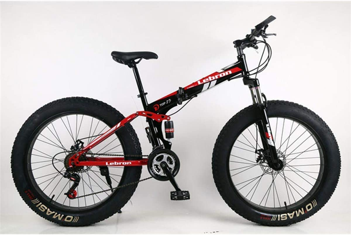 Amazon Com Kosgk Steel Folding Mountain Bike 26 Bicycles Unisex Dual Suspension 4 0inch Fat Tire Bicycle Can Cycling On Snow Mountains Roads Beaches Etc Red Home Kitchen