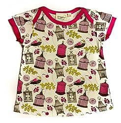 Origany Little Girls' Tropical Bird Ruffled Sleeves Top 5Y Pink