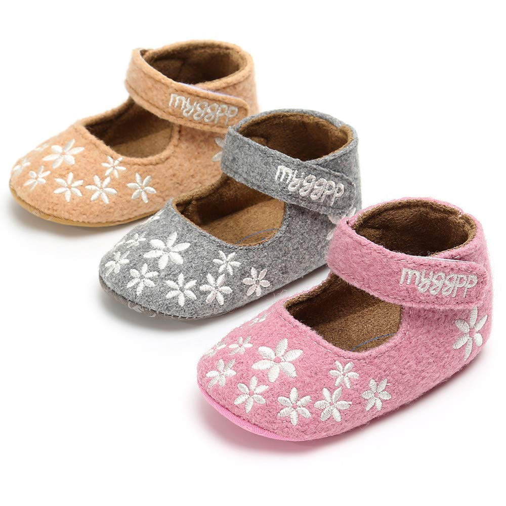 Isbasic Baby Girls Mary Jane Shoes Soft Sole Non-Slip Toddler First Walkers Moccasins (12-18 Months Grey)