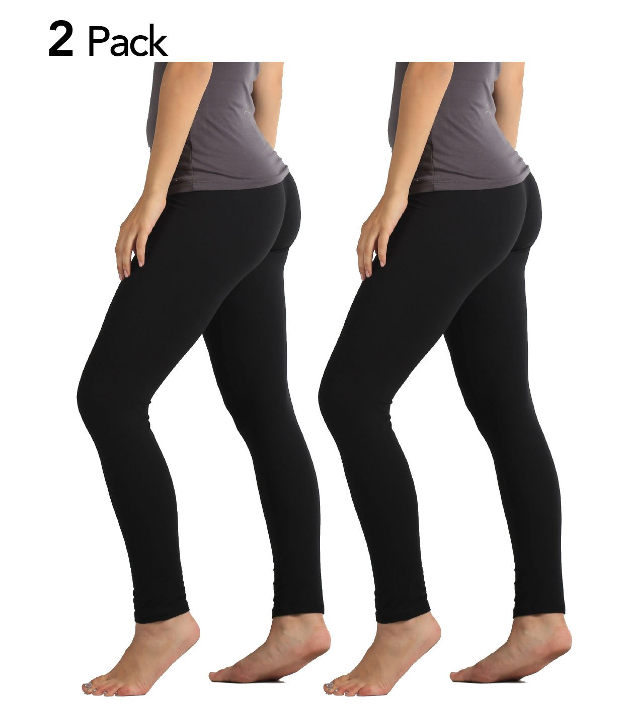 Premium Ultra Soft High Waist Leggings for Women - 2-Pack Black - Large/X-Large
