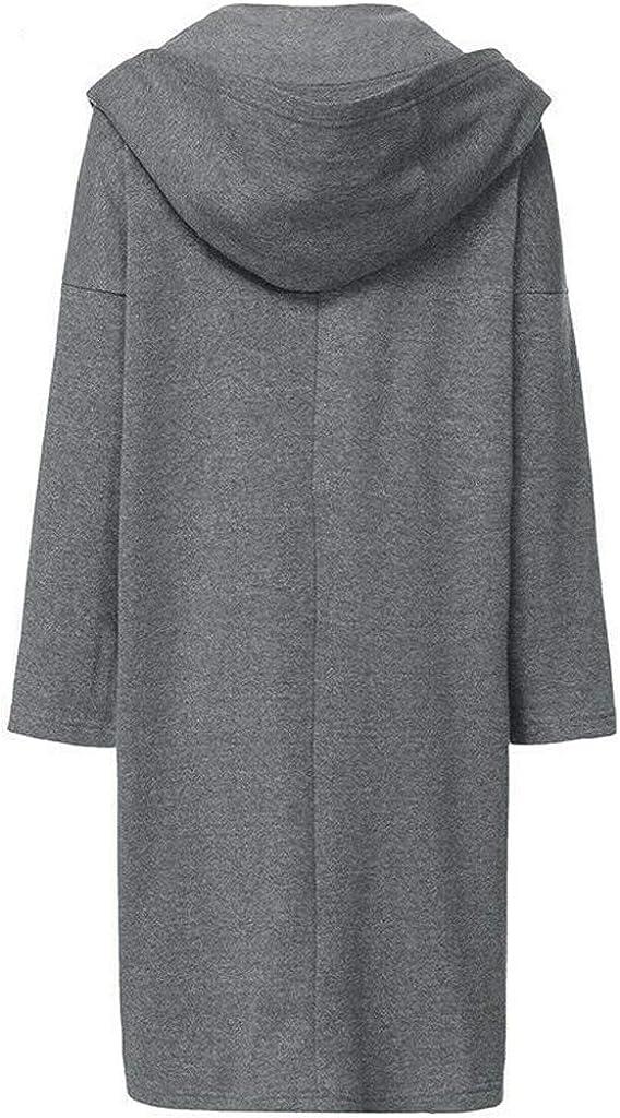 Fanteecy Outwear Womens Casual Zip up Hoodies Pockets Tunic Sweatshirt Long Hoodie Outerwear Jacket Dress Plus Size