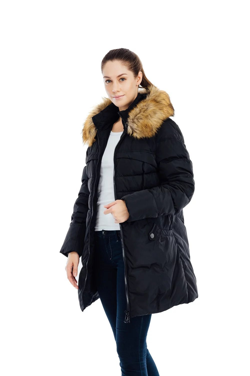 Valuker Women's Down Coat with Fur Hood 90D Parka Puffer Jacket 57-Black-XL by Valuker (Image #5)