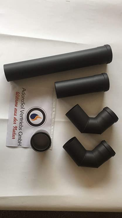 adorosol Vertriebs GmbH humo Tubo Set Pellet en negro, 80 mm de diámetro, horno
