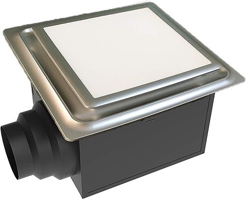 Aero Pure ABF110 L5 SN ABF110L5 Ceiling Mount 110 CFM w LED Light Nightlight, Energy Star Certified, Satin Nickel Quiet Bathroom Ventilation Fan