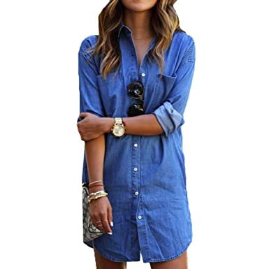 28054226b82d Scothen Les Femmes été Denim Mini Robe en Jean à Manches Longues T-Shirts  Manches