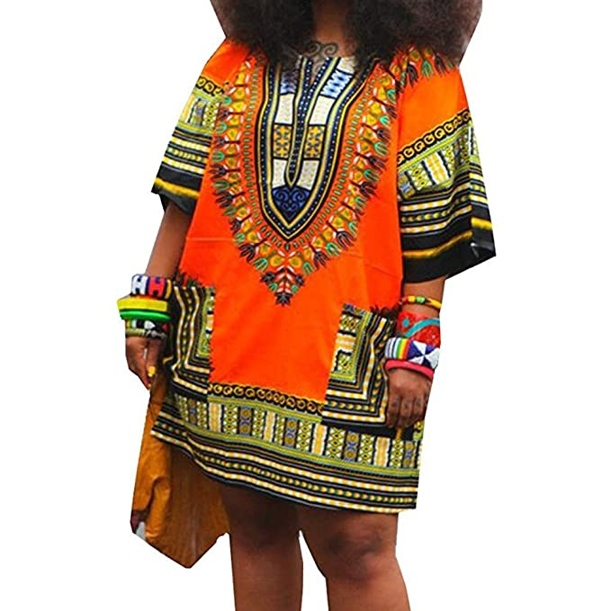 4084541cff6 Women Dashiki Dress African Attire for Women Plus Size Dresses Short Sleeve Shirt  African Print Clothes Sexy Fashion Orange at Amazon Women s Clothing store  ...